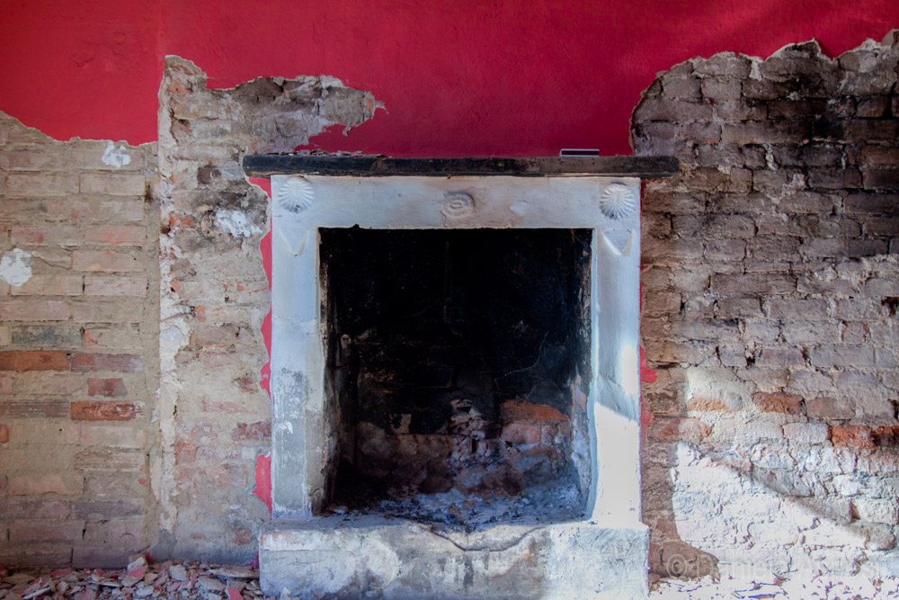 Fireplace in the red room